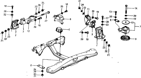 1975 civic ** 5 DOOR 4MT ENGINE MOUNT diagram