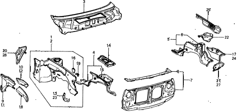 1977 civic ** 5 DOOR 4MT BODY STRUCTURE COMPONENTS (1) diagram