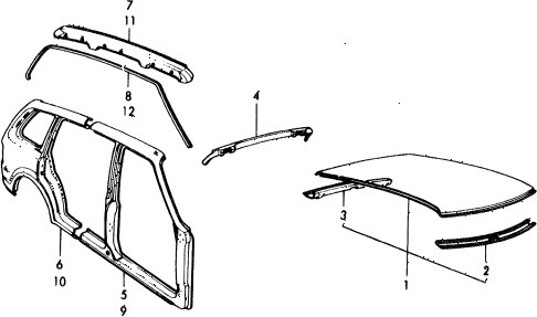 1975 civic ** 5 DOOR 4MT BODY STRUCTURE COMPONENTS (2) diagram
