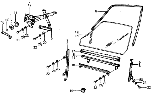 1977 civic ** 5 DOOR 4MT FRONT DOOR WINDOW diagram