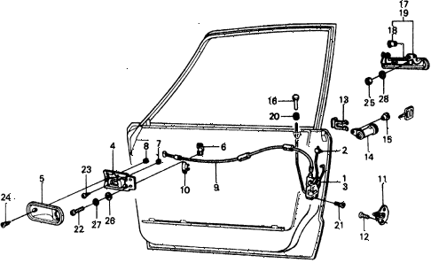 1977 civic ** 5 DOOR 4MT FRONT DOOR LOCKS diagram