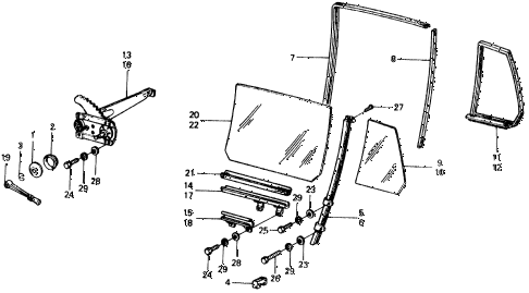 1977 civic ** 5 DOOR 4MT REAR DOOR WINDOWS diagram