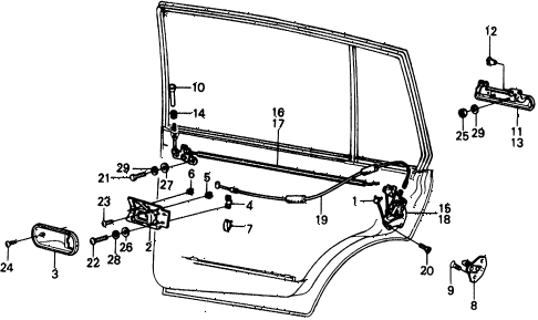 1976 civic ** 5 DOOR 4MT REAR DOOR LOCKS diagram