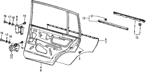 1977 civic ** 5 DOOR HMT REAR DOOR PANELS diagram