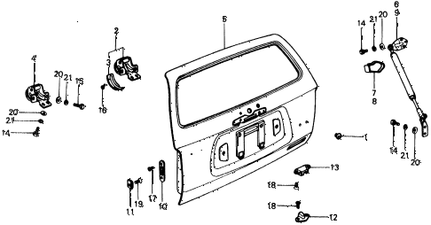 1977 civic ** 5 DOOR HMT TAILGATE PANEL diagram