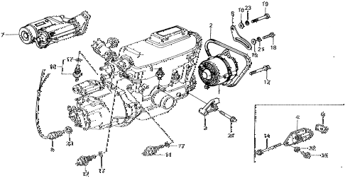 1976 civic ** 5 DOOR 4MT STARTER - ALTERNATOR - SENSOR diagram