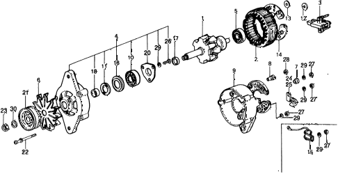 1976 civic ** 5 DOOR 4MT ALTERNATOR COMPONENTS diagram