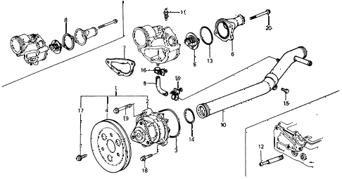 1976 civic ** 5 DOOR 4MT WATER PUMP - THERMOSTAT diagram