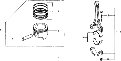 1977 civic ** 5 DOOR HMT PISTON - CONNECTING ROD diagram