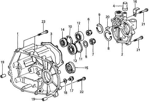 1976 civic ** 5 DOOR 4MT MT TRANSMISSION HOUSING diagram