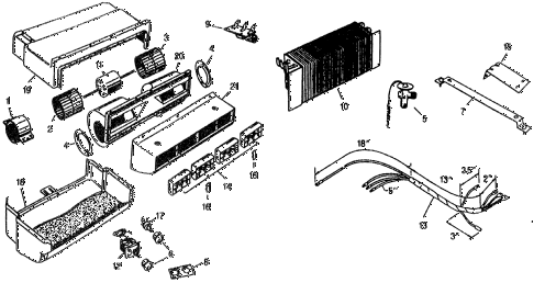 1977 civic ** 5 DOOR HMT A/C EVAPORATOR - LOUVER  - ELECTRICAL (TYPE-1) diagram