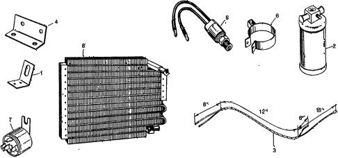 1975 civic ** 5 DOOR 4MT A/C AIR CONDITIONER - RECEIVER (TYPE-1) diagram