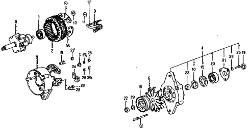 1975 civic ** 5 DOOR 4MT ALTERNATOR COMPONENTS (45A) (FOR USE WITH A/C) diagram