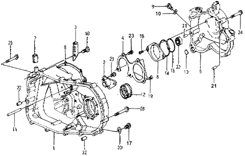 1978 accord STD 3 DOOR HMT AT TRANSMISSION HOUSING diagram