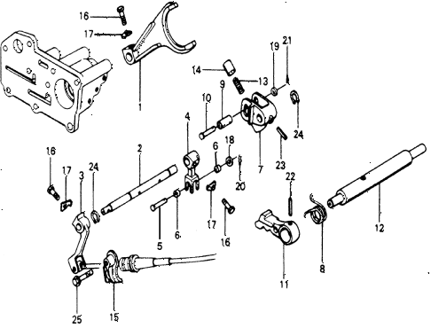 1978 accord LX 3 DOOR HMT AT SHIFT LEVER SHAFT diagram