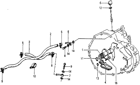 1976 accord STD 3 DOOR HMT AT OIL COOLER HOSE - OIL STRAINER diagram