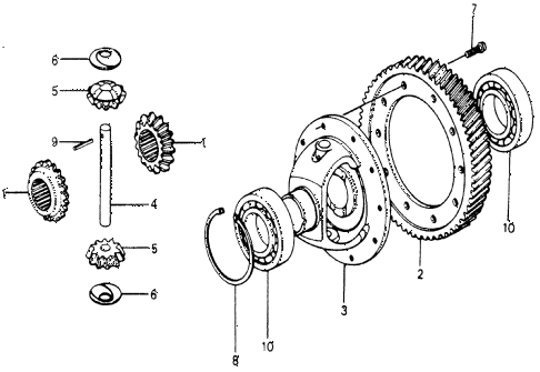 1977 accord STD 3 DOOR HMT AT DIFFERENTIAL GEAR diagram