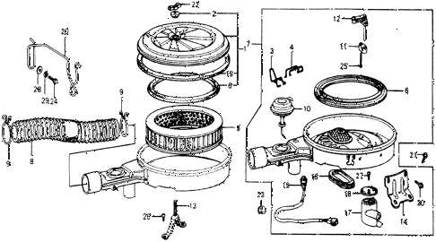 1978 accord STD 3 DOOR HMT AIR CLEANER diagram