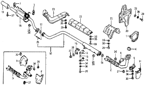1977 accord STD 3 DOOR 5MT EXHAUST PIPE diagram