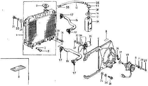 1978 accord STD 3 DOOR HMT RADIATOR diagram