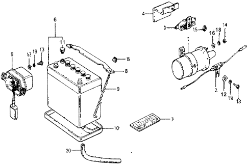 1977 accord STD 3 DOOR HMT IGNITION COIL - BATTERY diagram