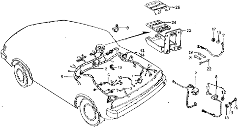 1976 accord STD 3 DOOR HMT WIRE HARNESS - BATTERY CABLE diagram
