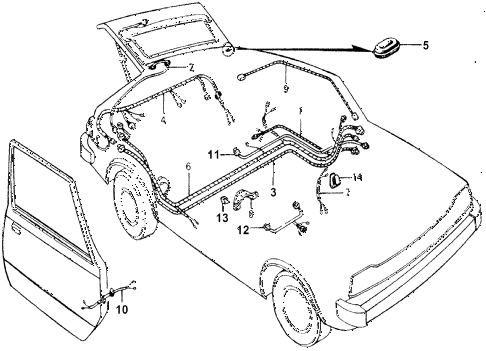 1976 accord STD 3 DOOR 5MT CABIN WIRE HARNESS diagram