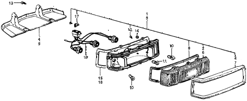 1976 accord STD 3 DOOR 5MT TAILLIGHT diagram