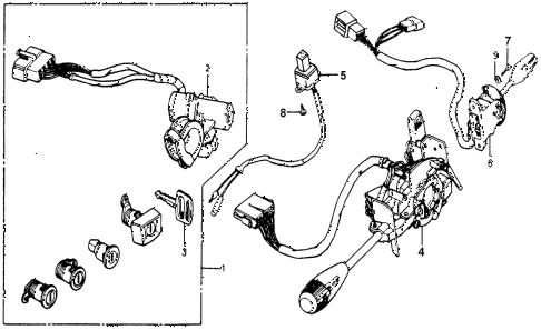 1978 accord LX 3 DOOR HMT STEERING WHEEL SWITCH - LOCK SET diagram