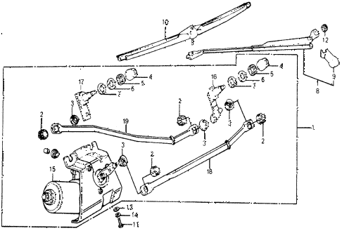 1977 accord STD 3 DOOR 5MT FRONT WINDSHIELD WIPER diagram