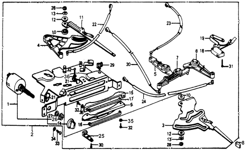 1978 accord STD 3 DOOR HMT HEATER LEVER diagram
