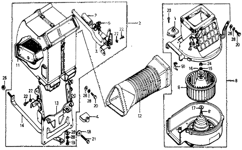 1976 accord STD 3 DOOR 5MT HEATER UNIT - HEATER BLOWER diagram