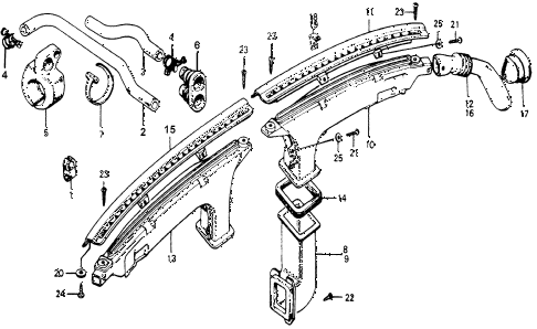 1978 accord LX 3 DOOR HMT WATER HOSE - DEFROSTER HOSE diagram