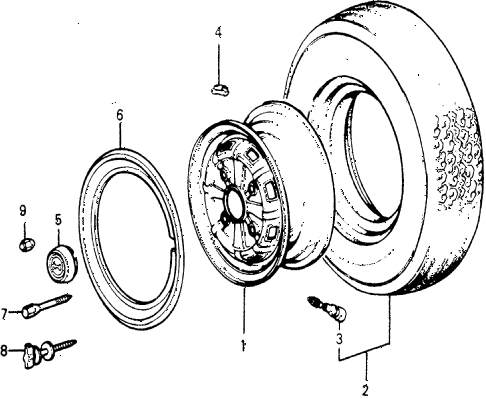 1976 accord STD 3 DOOR 5MT TIRE - WHEEL DISK diagram