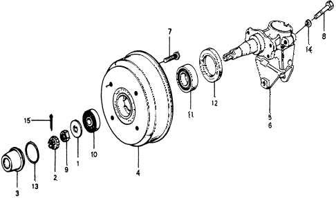 1976 accord STD 3 DOOR 5MT REAR BRAKE DRUM diagram