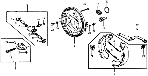 1976 accord STD 3 DOOR HMT REAR BRAKE SHOE diagram