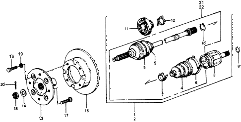 1976 accord STD 3 DOOR 5MT DRIVESHAFT - FRONT BRAKE DISK diagram