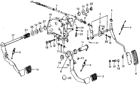 1976 accord STD 3 DOOR 5MT MT PEDAL diagram