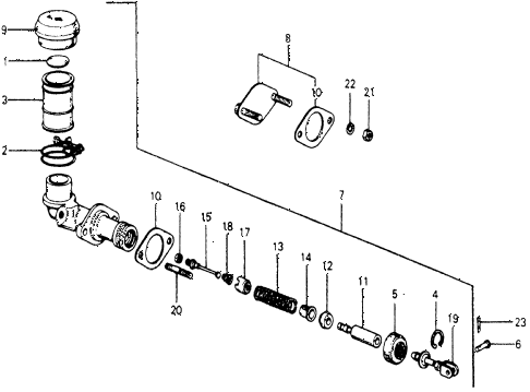 1977 accord STD 3 DOOR 5MT MT CLUTCH MASTER CYLINDER diagram
