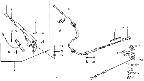 1976 accord STD 3 DOOR 5MT PARKING BRAKE diagram