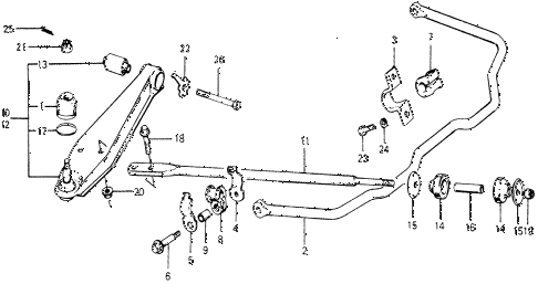 1978 accord LX 3 DOOR HMT STABILIZER SPRING - FRONT LOWER ARM diagram