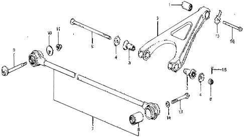 1977 accord STD 3 DOOR 5MT REAR LOWER ARM - RADIUS ROD diagram