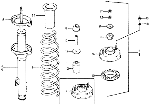 1977 accord STD 3 DOOR 5MT REAR SHOCK ABSORBER diagram