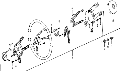 1976 accord STD 3 DOOR HMT STEERING WHEEL diagram