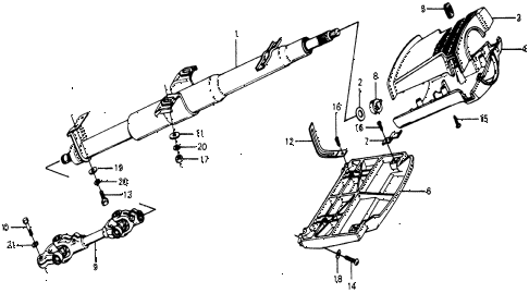 1977 accord STD 3 DOOR HMT STEERING COLUMN (TO SJ-2063328) diagram