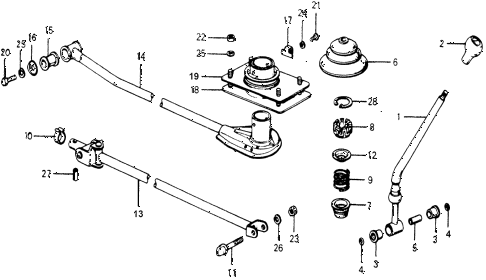 1977 accord STD 3 DOOR 5MT MT SHIFT LEVER diagram
