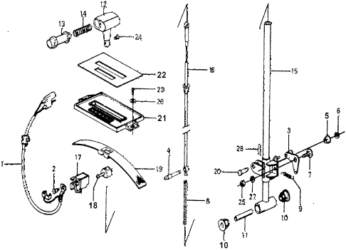 1976 accord STD 3 DOOR HMT HMT SELECT LEVER diagram