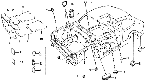1977 accord STD 3 DOOR HMT INSULATOR - GROMMET diagram