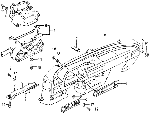 1976 accord STD 3 DOOR HMT INSTRUMENT PANEL diagram