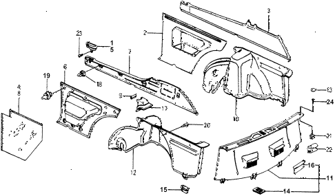1977 accord STD 3 DOOR 5MT INTERIOR LINING diagram